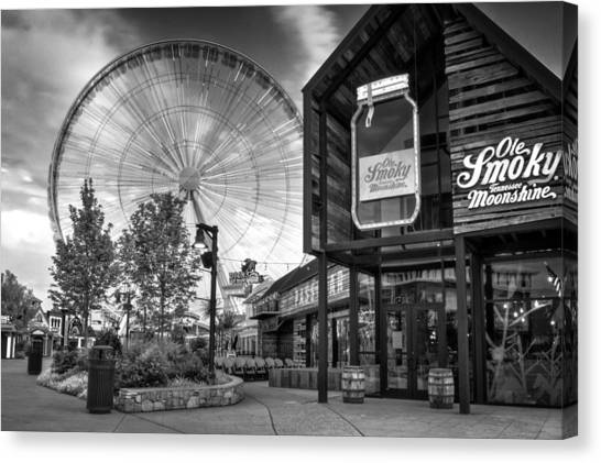 Moonshine And The Spinning Wheel In Black And White Canvas Print