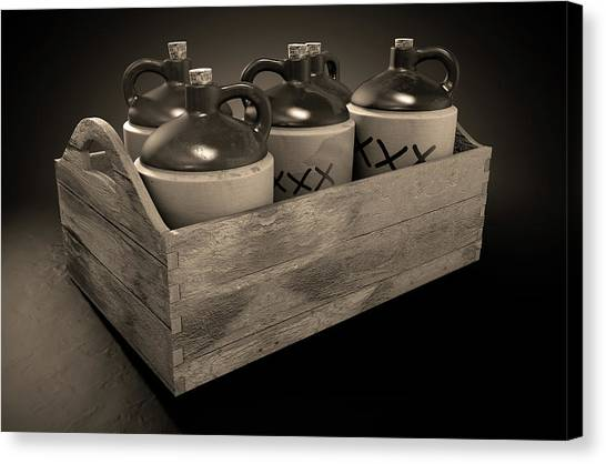 Moonshine In Wooden Crate Canvas Print by Allan Swart