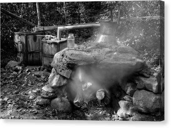 Moonshine Still In Black And White Canvas Print