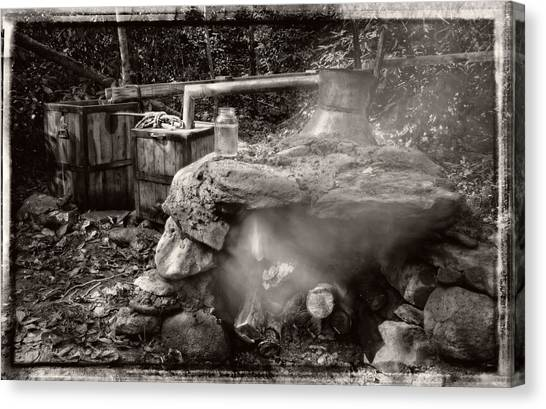 Moonshine Still In Black And White With Border Canvas Print