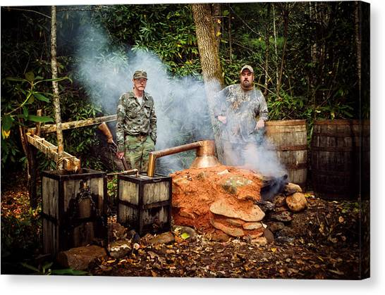 Moonshine Still With Mark And Huck Canvas Print