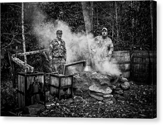Moonshine Still With Mark And Huck In Black And White Canvas Print