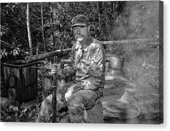 Moonshiner Mark At Still In Black And White Canvas Print