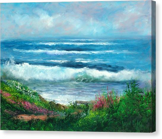 Moonstone Bench Canvas Print by Sally Seago