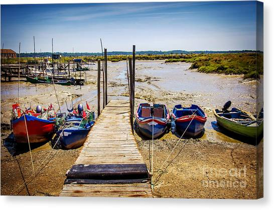 Fishing Poles Canvas Print - Moored Fishing Boats by Carlos Caetano