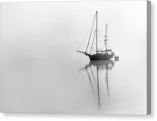 Moored On A Foggy Day Canvas Print