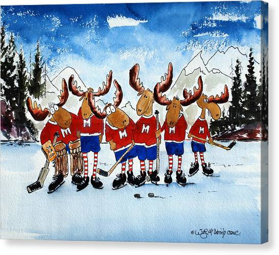 Moose Champs And Shinny Kings Canvas Print