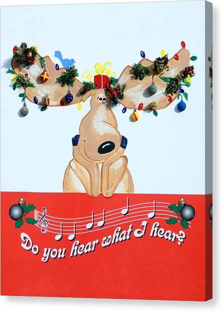 Moose Christmas Greeting Canvas Print