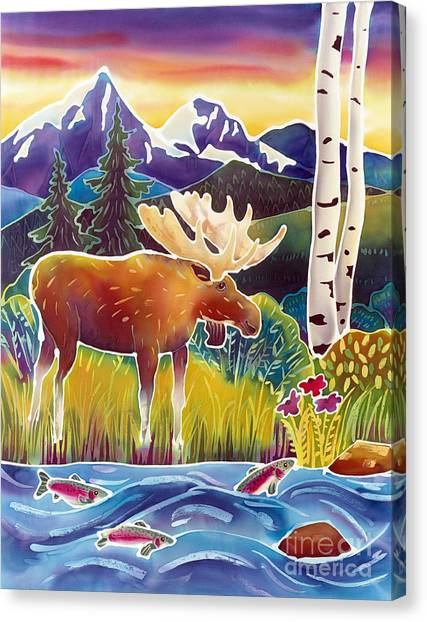 Trout Canvas Print - Moose On Trout Creek by Harriet Peck Taylor