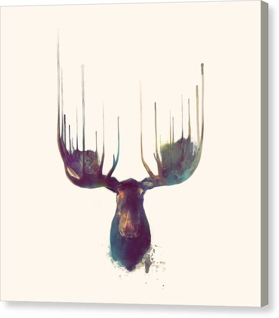 Antlers Canvas Print - Moose // Squared Format by Amy Hamilton