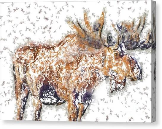 Moose-sticks Canvas Print