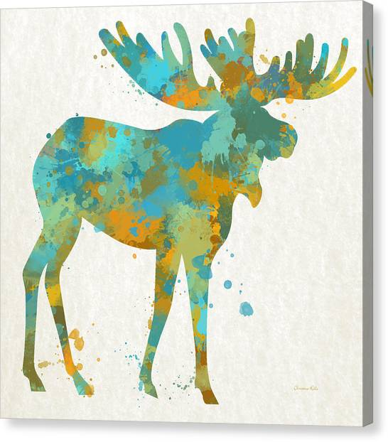 Bulls Canvas Print - Moose Watercolor Art by Christina Rollo