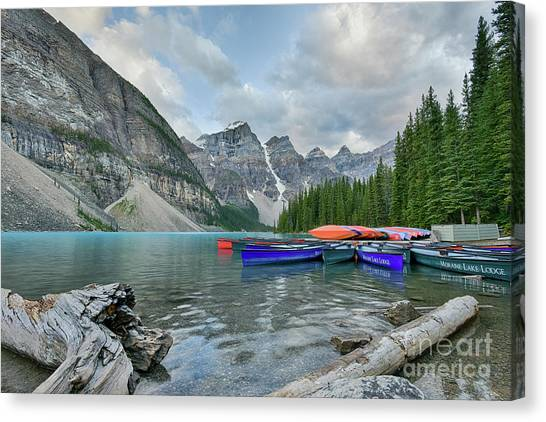 Moraine Logs And Canoes Canvas Print