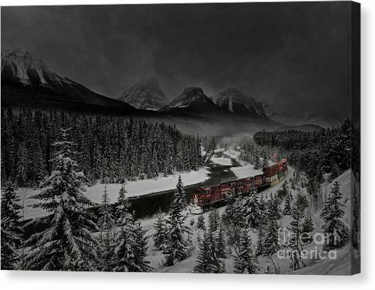 Canvas Print featuring the photograph Morant's Curve At Night by Brad Allen Fine Art