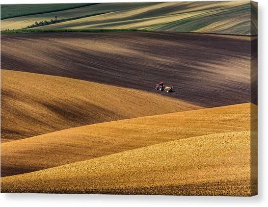 Tractors Canvas Print - Moravian Fields by Marek Biegalski