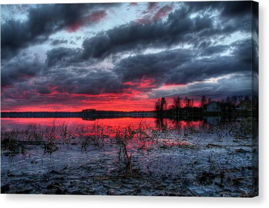 Dusk Canvas Print - Mordor Like Sunset In Finland by Sandra Rugina