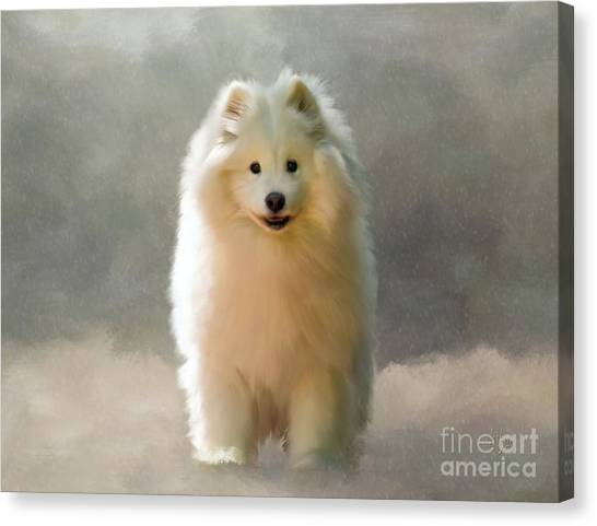 Dogs In Snow Canvas Print - More Snow Please by Lois Bryan