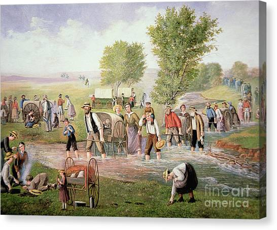 Immigration Canvas Print - Mormon Pioneers Pulling Handcarts On The Long Journey To Salt Lake City In 1856 by American School