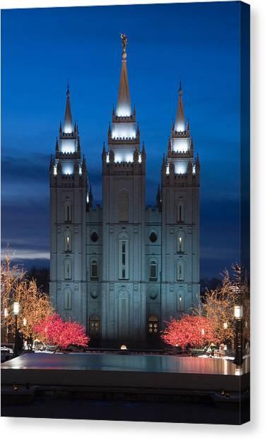 Mormon Temple Christmas Lights Canvas Print