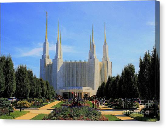 Canvas Print featuring the photograph Mormon Temple Dc by Patti Whitten
