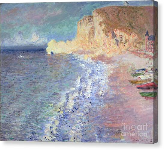 Etretat Canvas Print - Morning At Etretat by Claude Monet
