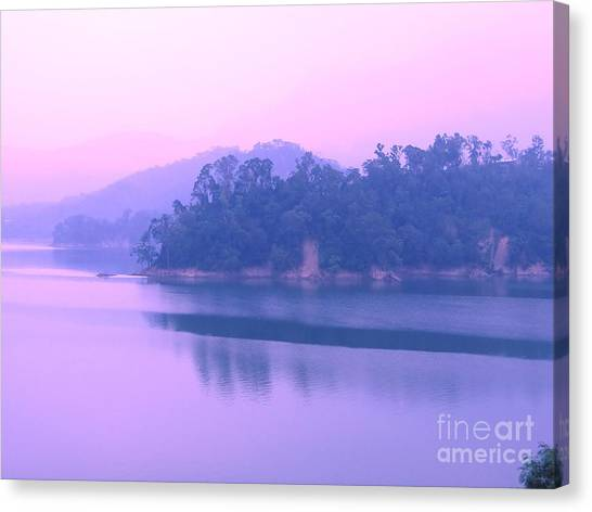 Sunrise Horizon Canvas Print - Morning At The Lake by Yali Shi