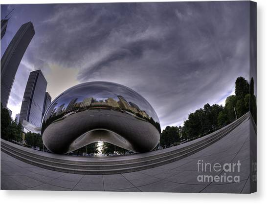 Cloudgate Canvas Print - Morning Bean Reflections by David Bearden