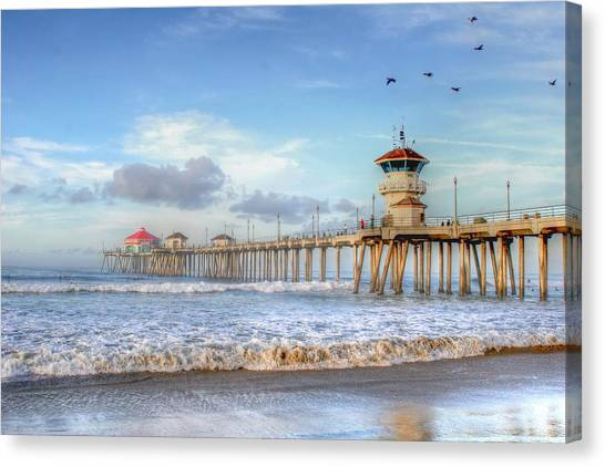 Morning Birds Over Pier Canvas Print