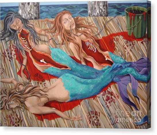 Morning Catch Canvas Print by Sandra Scheetz-Wise
