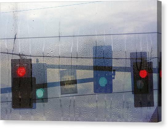 Rain Canvas Print - Morning Commute by Rebecca Cozart