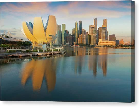 Singapore Skyline Canvas Print - Morning Day Light After Sunrise And Singapore City by Anek Suwannaphoom