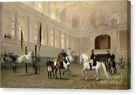 Exercising Canvas Print - Morning Exercise In The Hofreitschule by Julius von Blaas