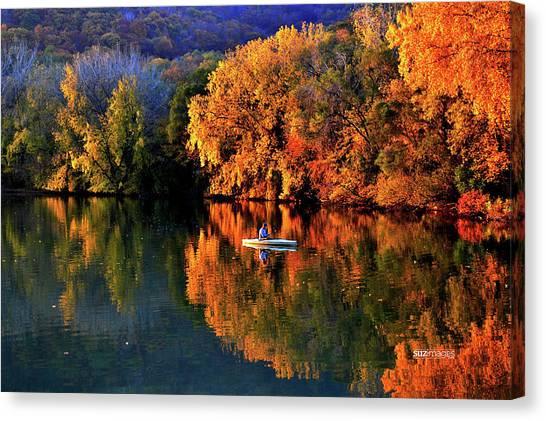 Morning Fishing On Lake Winona Canvas Print