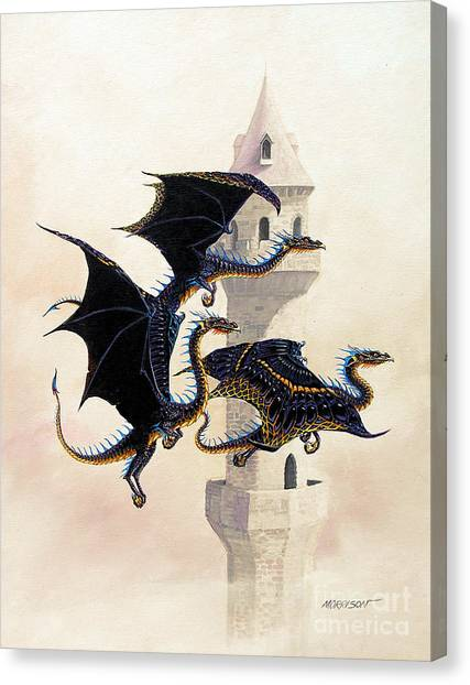 Dragons Canvas Print - Morning Flight by Stanley Morrison