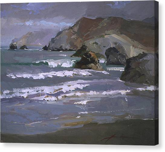 Betty Billups Canvas Print - Morning Fog Shark Harbor - Catalina Island by Betty Jean Billups