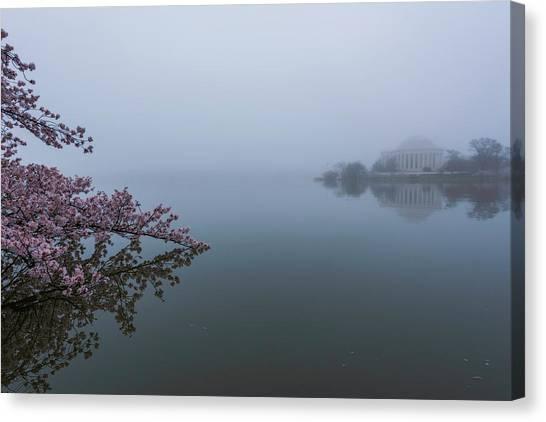 Morning Fog At The Tidal Basin Canvas Print
