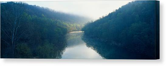 Big South Canvas Print - Morning Fog On Cumberland River by Panoramic Images