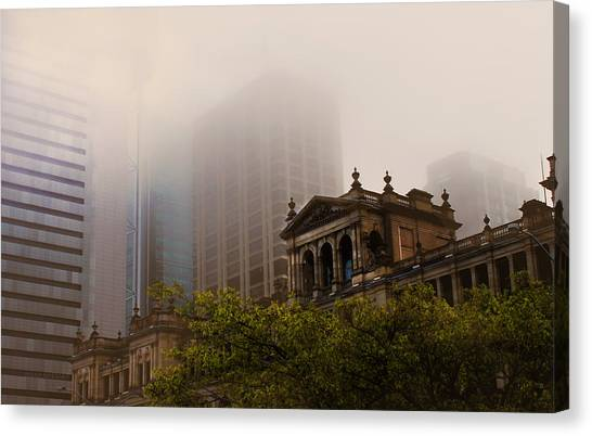 Morning Fog Over The Treasury Canvas Print