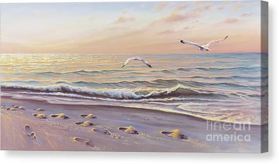 Ocean Sunrises Canvas Print - Morning Glisten by Joe Mandrick