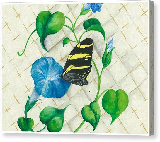 Morning Glories And Butterfly Canvas Print by Sally Balfany