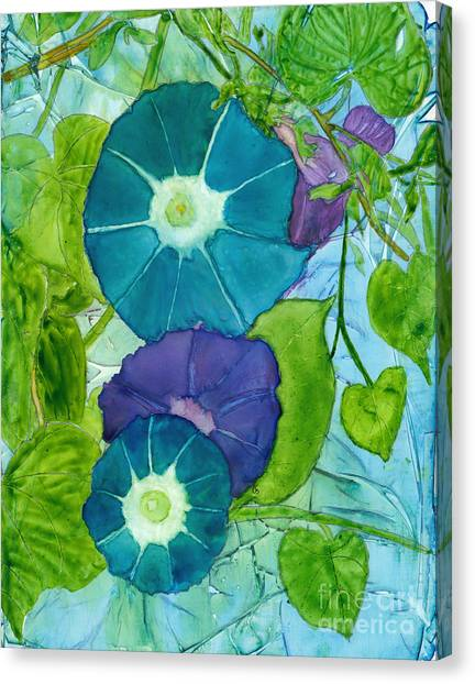 Morning Glories In Watercolor On Yupo Canvas Print