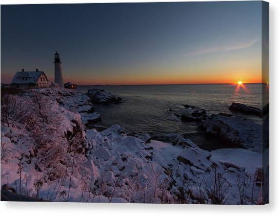 Morning Glow At Portland Headlight Canvas Print