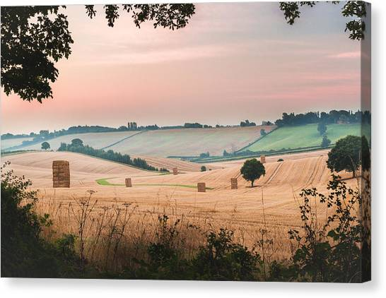 Hay Bales Canvas Print - Morning Hay by Chris Dale