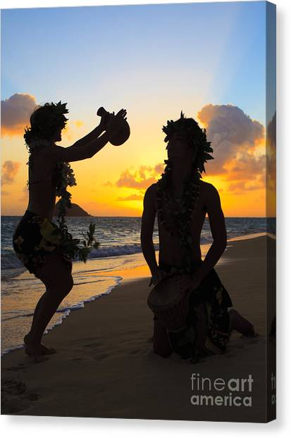 Djembe Canvas Print - Morning Hula Silhouettes by Tomas del Amo - Printscapes