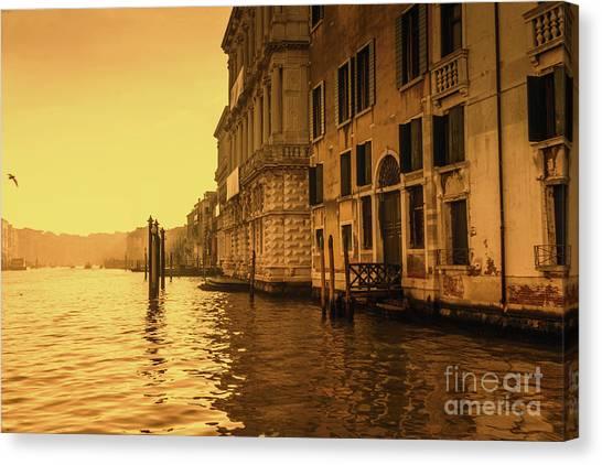 Morning In Venice Sepia Canvas Print