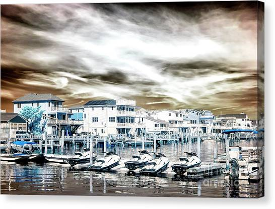 Jet Skis Canvas Print - Morning Jet Skis Infrared At Long Beach Island by John Rizzuto