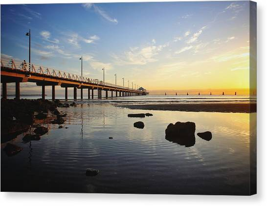 Morning Light Down By The Pier Canvas Print