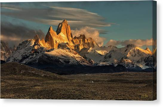 Canvas Print featuring the photograph Morning Light On Fitzroy by Stuart Gordon