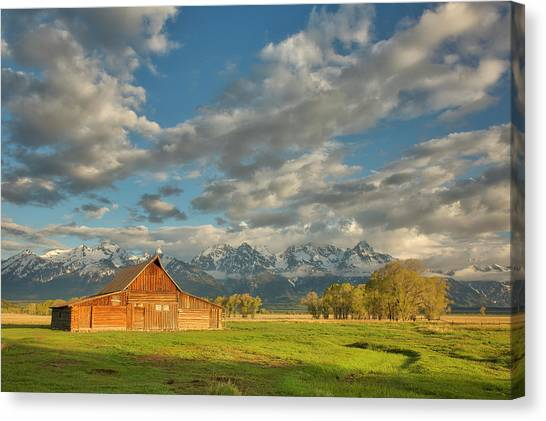 Morning Light On Moulton Barn Canvas Print