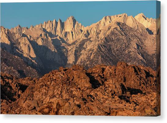 Canvas Print featuring the photograph Morning Light On Mt. Whitney by Stuart Gordon
